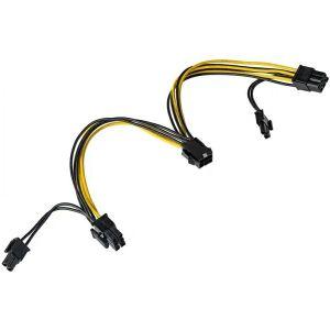 Adapter Akyga PCI-E 6 pin (m) na 2x PCI-E 6+2 pin (f)