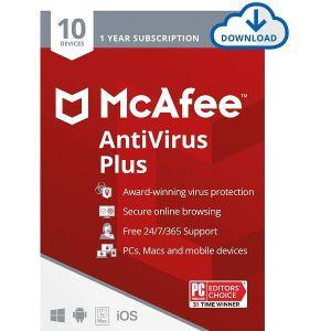 Antivirusni program McAfee AntiVirus Plus – 1 godina, Za 10 uređaja, elektronički certifikat