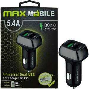 Auto punjač Max Mobile SC-191 Duo, Quick Charge 3.0, 27W, 2xUSB, Crno/sivi