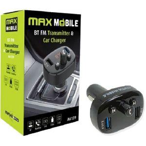 Auto punjač Max Mobile A6139, FM, Bluetooth, 2xUSB, Crni