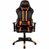 Gaming stolica Canyon, PU leather, Cold molded foam, Metal Frame,  Butterfly mechanism, 90-150 dgree, 2D armrest, Class 4 gas lift, Nylon 5 Stars Base, 60mm PU caster, black+Orange.