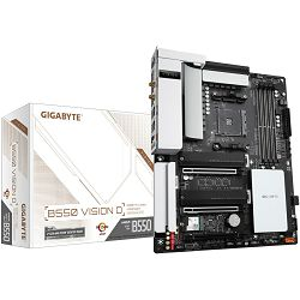 Matična ploča Gigabyte B550 VISION D, AM4, 4xDDR4, 1 PCIe4.0x16, 1 PCIe4.0x8, 1 PCIex4, AMD Quad CrossFire, 2-Way AMD CrossFire, ALC1220-VB, 2xGbE LAN, 4xSATA3, 8xUSB3.2 Gen1/2, 2xM.2, ATX - PROMO