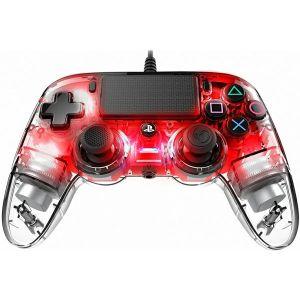 Kontroler Nacon PS4 Compact Light, prozirno-crveni