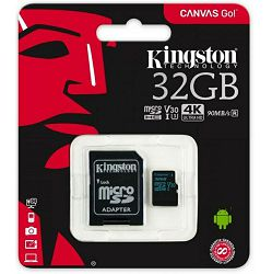 Memorijska kartica Kingston 32GB microSDHC Canvas Go 90R/45W U3 UHS-I V30 Card + SD Adapter EAN: 740617276343