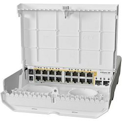 MikroTik (CRS318-16P-2S OUT) outdoor 18 port switch with 16 Gigabit PoE-out ports and 2 SFP