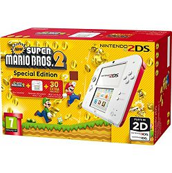 Nintendo New 2DS Console - White & Red + New Super Mario Bros 2 3DS