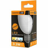 CANYON PE27FR3.3W230VN LED lamp, P45 shape, frosted, E27, 3.3W, 220-240V, 150°, 262 lm, 4000K, Ra>80, 50000 h