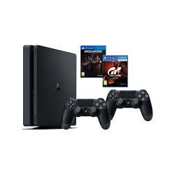 PlayStation 4 1TB E chassis+Gran Turismo Sport+Uncharted Lost Legacy+DS4 Black v2