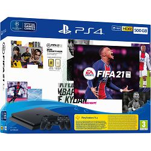 PlayStation 4 500GB F Chassis Black + FIFA 21 + FUT Voucher + PS+ 14dana + Dualshock Controller v2