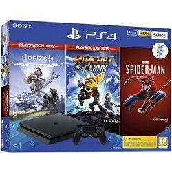 PlayStation 4 500GB F Chassis Black + Marvel Spiderman + Horizon Zero Dawn Complete Edition + Ratchet and Clank Hits - PROMO