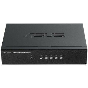 Switch Asus GX-U1051, 5 x 10/100/1000 Mbps Ethernet ports, desktop, fiksna konfiguracija, unamanaged, Layer 2, Napajanje vanjsko