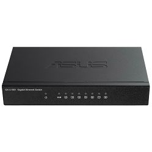 Switch Asus GX-U1081, 8 x 10/100/1000 Mbps Ethernet ports, desktop, fiksna konfiguracija, unamanaged, Layer 2, Napajanje vanjsko