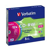 CD-RW Verbatim 700MB 8-12× DataLife+ Colour 5 pack Slimcase