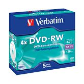 DVD-RW Verbatim 4.7GB 4× Matt Silver 5 pack JC