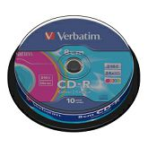 CD-R Verbatim 210MB/8cm 24× DataLife Colour 10 pack spindle