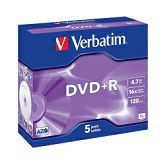 DVD+R Verbatim 4.7GB 16× Matt Silver 5 pack JC
