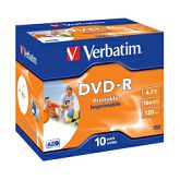 DVD-R Verbatim 4.7GB 16× Wide Inkjet PRINTABLE (ID Brand) 10 pack JC