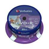 DVD+R Verbatim 4.7GB 16× Wide Photo PRINTABLE 25 pack spindle