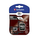 Memorijska kartica Verbatim Micro Secure Digital (HC) 8GB Class 10 + adapter, Blister Pack