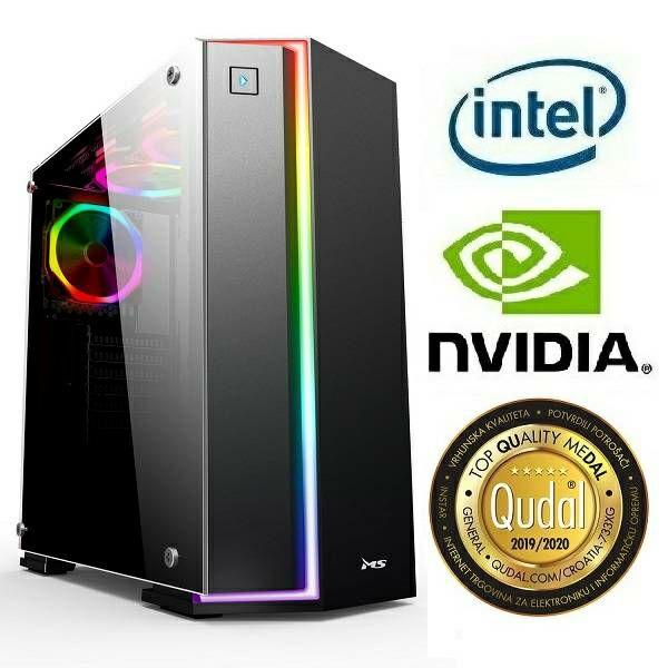 Računalo INSTAR Gamer Zeus Pro, Intel Core i5 9400 up to 4.1GHz, 8GB DDR4, 256GB NVMe SSD, NVIDIA GeForce GTX1660Ti 6GB, no ODD, 5 god jamstvo - PROMO